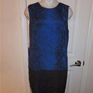 REBECCA TAYLOR BLUE/BLACK SLEEVELESS DRESS 12
